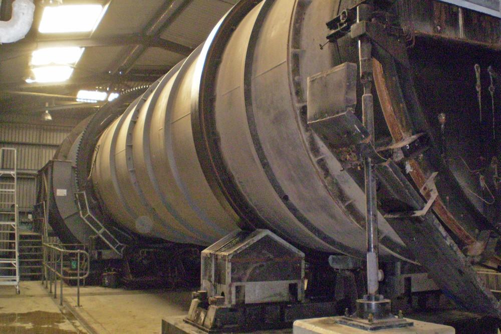 The Dano pulveriser drum - 4m diameter by approx. 20m long x 76 tonnes